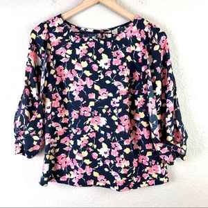 LC Lauren Conrad Floral Bow Sleeve Blouse